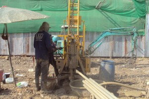 Boring test with rotary drilling rig.